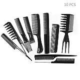 Daimay Set de Peine Profesional para Peinado Clips de Peinado Salon Hair Styling Barbers Peine Conjunto Variedad Paquete de 10 para Todo Tipo de Cabello - Negro
