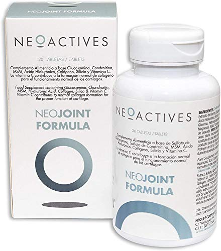 NeoJoint Formula | Con Sulfato Glucosamina y Condroitina, MSM, Ácido Hialurónico, Colágeno, Silicio y Vitamina C | Para formación de colágeno y funcionamiento normal de cartílagos | 30 Capsulas