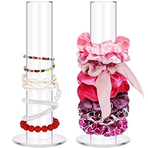2 Stück Scrunchie Display Organizer Halter Schmuck Armband Uhr Display Stand T-Bar Display Halter Scrunchie Haarband Halter für Mädchen Geschenke (25 x 10 x 5 cm)