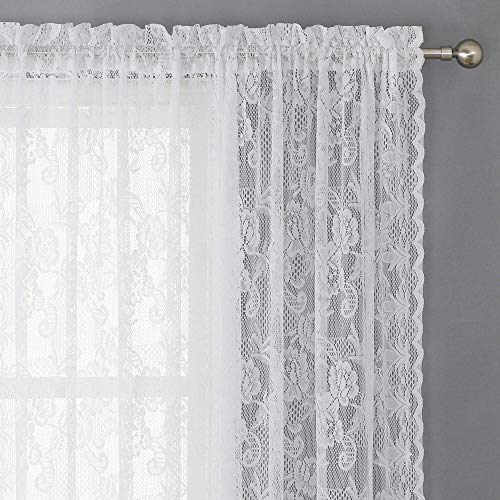 WUBODTI White Lace Sheer Voile Window Curtains 2 Panels Floral Tulle Fabric Window Treatments Embroidered Sliding Door Drapes and Curtains for Kitchen Bedroom Living Room 84 Inch Length