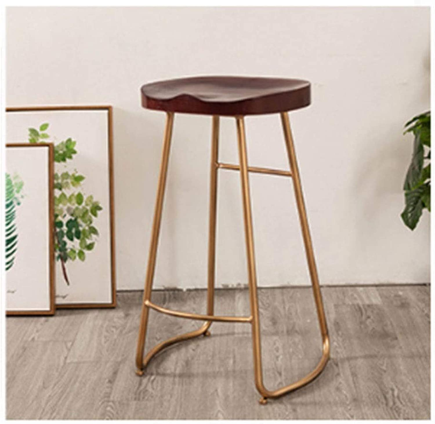 Modern Minimalist Wrought Iron Bar Stool Unique Material Wooden High Stool Cafe Restaurant Bar Selection 0527BAR22 (color   Red)