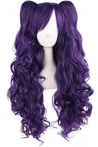 TSNOMORE Long Curly Lolita Cosplay Wig + 2 Clip on Pigtail Ponytail wig (Dark Purple)