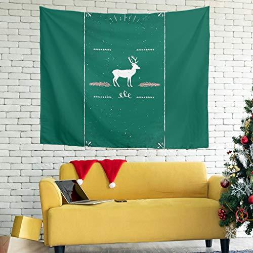 XJJ88 Weihnachts-Elch-Muster, kreatives Design, kleine Outdoor-Matte, dunkelgrün für Party-Dekoration, weiß, 59 * 51