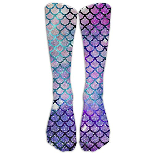 FUNINDIY Mermaid Scales With Galaxy Crazy football compression Socks Crew Socks High Socks Long Socks For Running,Medical,Athletic,Edema,Diabetic,Varicose Veins,Travel,Pregnancy,Shin Splints,Nursing.