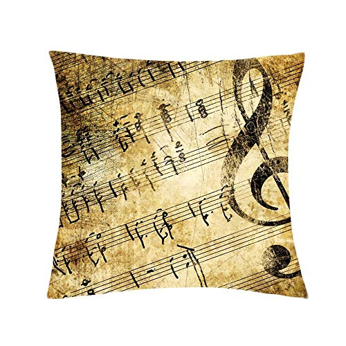 Generies Pillow Cover Square Creative Cushion Cover Classical Musical Note Printing Elegant Throw Pillow Case Cushion Cover Home Decoration Pillowcase