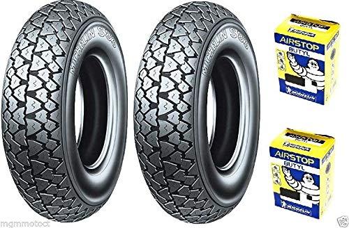 Paire de pneus Michelin S83 3.50 10 59J + chambres à air pour Piaggio PX 200