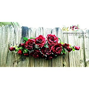 Floral Décor Supplies for 2 ft Artificial Roses Swag Silk Flowers Wedding Arch Table Runner Centerpiece for DIY Flower Arrangement Decorations – Color is Burgundy/Wine