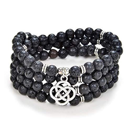 oasymala 108 Mala Meditation Beads Yoga Bracelet or Necklace with Celtic Knot Charm (Black Lava Stone)