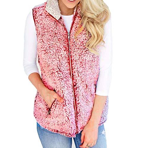Auifor dames vest winter warme outwear casual imitatiebont rits up Sherpa jas