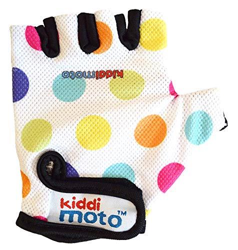 KIDDIMOTO - Guantes de Ciclismo sin Dedos para Infantil (niñas y niños) - Bicicleta, MTB, BMX, Carretera, Montaña - S (2-5 y) - Puntos Pastel