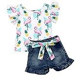 Geagodelia Conjunto de ropa para bebé, conjunto de blusa, camiseta y pantalones cortos, suave verano, Blanco 06, 4- 5 Años
