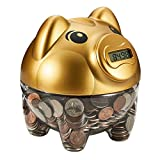SYYISA Piggy Bank, Digital Counting Coin Bank with LCD Display, Automatic Coin Counter Totals All U.S. Coins, Makes a Perfect Unique Gift for Kids Adults Boys Girls, Gold