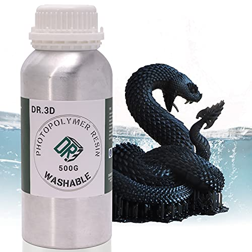 【DR.3D】Water Washable 3D Printer Resin, 405nm Resin for 3D LCD Printer Low Oder, Fash UV Curing Photopolymer Resin for 3D Printing, 500g Black