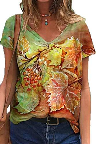Wsgyjhua 2021 Primavera Y Verano Nueva Camiseta Estampada De Mujer Suelta con Cuello En V Hipster Callejero Europeo Y Americano