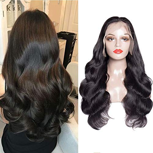 Maxine 10A Full Lace Human Hair Wigs Brazilian Virgin Hair Body Wave 180% Density Full Lace Wigs for Black Women with Baby Hair Pre Plucked(16 inch Free Part)