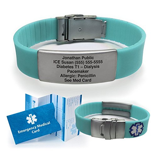 Silicone Sport Medical Alert ID Bracelet - Teal (Incl. 6 line of Custom Engraving). Choose Your Color! -