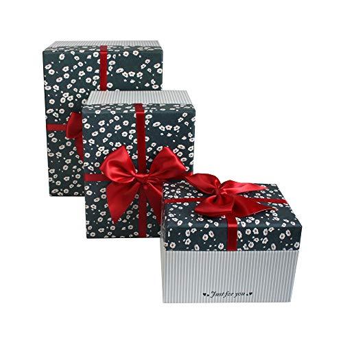 Emartbuy Conjunto de 3 Rígido Lujo Rectángulo Presentación de Caja de Regalo, Caja de Rayas Gris Con Tapa Floral, Lazo Rojo y Interior Blanco a Cuadros