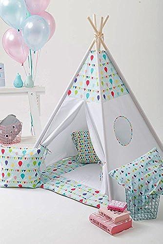 erdbeerwoody Spielzelt mit Bodenspielmatte und Kissen- Tippi Indianerzelt Spielhaus Zelt Set-100% Baumwolle + Birkenholz, Mehrfarbig