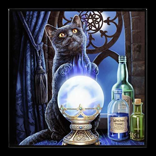 Lisa Parker Fantasy Hochglanz Bild mit Katze - Witches Apprentice | Wandbild mit Resin versiegelt - 25x25 cm, Motiv