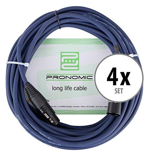 4er Set Pronomic Stage DMX3-10 DMX-Kabel 10 Meter (zur Verkabelung von Lichteffekten, Goldkontakte, Mantelfarbe: Blau, XLR Male zu XLR Female)