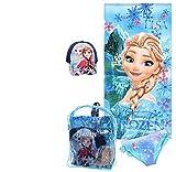 Disney Girl's Frozen Swim Set in Backpack, Set of Towel, Cap and Swim Short (Blue, 6 Years)