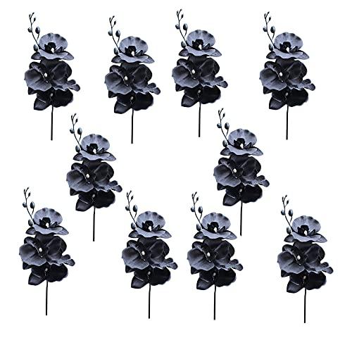 10 ramas artificiales de flores de Phalaenopsis, orquídeas de seda negra, tallos, arreglo floral para decoración del hogar, fiesta, oficina