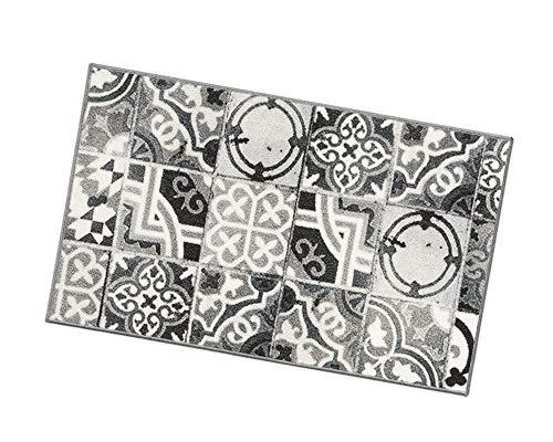 Küchenteppich, Motiv: Fliesen, rutschfeste Rückseite, 7Größen erhältlich, Mehrzweck-Teppich für Flur, Bad oder Schlafzimmer, Modell: Tapiro31 57x140 cm Grigio (G)