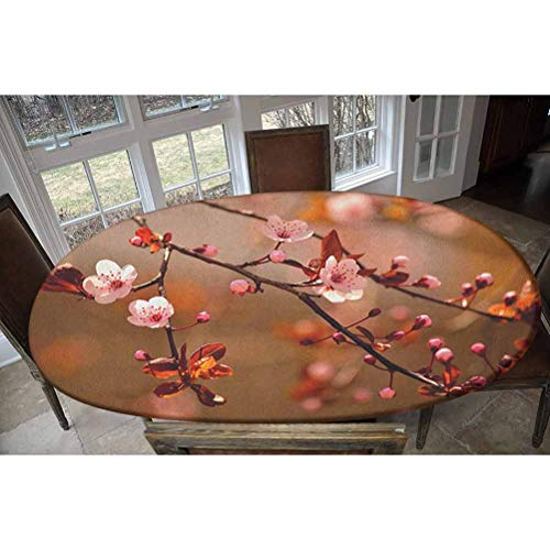 Nature Elastic Polyester Fitted Table Cover,Cherry Blossom Sakura Tree Branches Flowering Japanese Flourishing Print Decorative Oblong/Oval Dinner Fitted Table Cloth,Fits Tables up to 48' W x 68' L