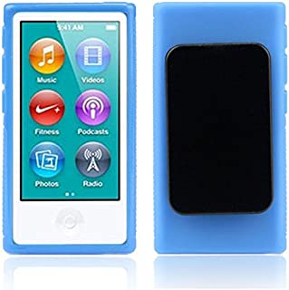 Sdoveb Waterproof Case for iPod Nano 7 7G 7th Gen Shockproof shatterproof and Anti-Scratch TPU Rubber Gel Soft Case Cover Belt Clip (Blue)