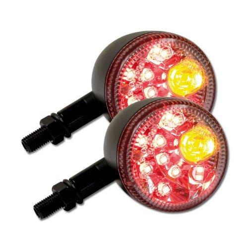LED moto clignotant rücklichtkombi 'prisma', paire, m10 (noir mat/transparent, longueur : 88 mm-diamètre : 60 mm, 6,5 \