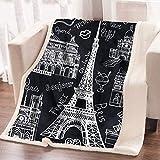 ARIGHTEX France Black and White Eiffel Tower Flannel Fleece Throw Blanket Retro Paris Sherpa Blanket Soft Warm Blanket Picnic Beach Blanket (50 x 60 Inches)