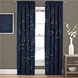 Constellation Energy-Saving and Noise-reducing Sky Map Andromeda Lacerta Cygnus Lyra Hercules Draco Bootes Lynx Rod-Shaped Pocket Curtains for The Living Room W72 x L72 Inch Dark Blue Yellow White