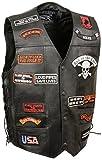 Event Leather Men's 23 Patches Vest (Black, X-Large)