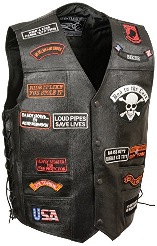 Event Leather Men's 23 Patches Vest (Black, Medium)