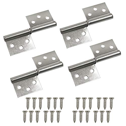 HONJIE 3 Inch Stainless Steel Flag Door Hinge for Cabinet,Closet,Wardrobe,Cupboards 4Pcs(with Screws)