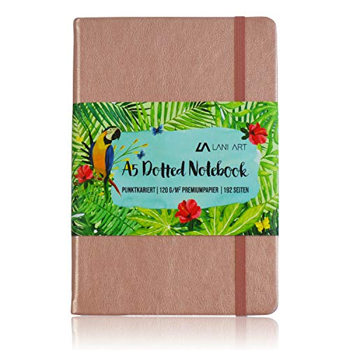 Lani Art Dotted Bullet Journal Notizbuch A5 Gepunktet, Hardcover Dot Grid Notebook, Premium Papier 120g/m², Kunstleder Notizbuch Punktkariert Roségold