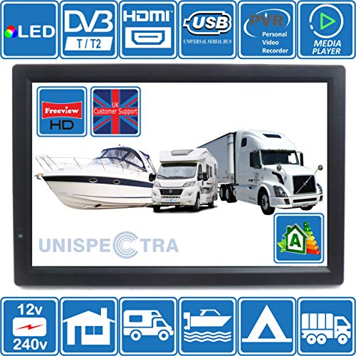 MOTORHOME CARAVAN BOAT KITCHEN 12 Volt 14 Inch LED Digital HD TV DVB-T2. Freeview HD and all Europe Free to The Air TV. 12V 240V USB PVR & Media Player, HDMI CCTV Monitor by Unispectra