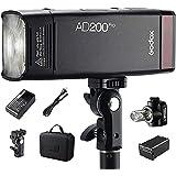 Godox AD200Pro ポケット TTL スピードライト フラッシュ ポータブル 交換可能 フラッシュヘッド付き(スピードライト/裸電球) GN52 GN60 1 / 8000s HSS 2.4Gワイヤレス Xシステム 200W 強力パワー Nikon Sony Fujifilm Olympus Panasonic Pentax Canon EOS カメラ用 (Godox AD200Pro)