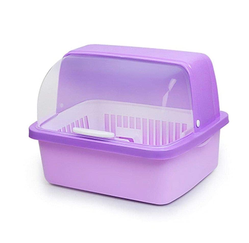 色に話す好意的ドリップトレイ、食器収納ボックス付きキッチンクラフトディッシュドレンコンテナー、キッチンドレンの安全性(色:青、サイズ:小)