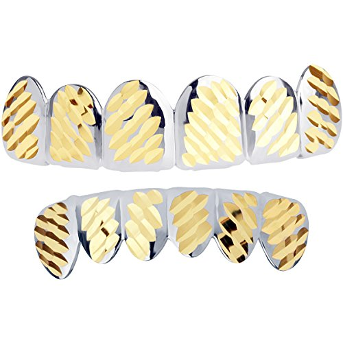 Iced Out Silber Grillz - One Size fits All - Diamond Cut IV - Set