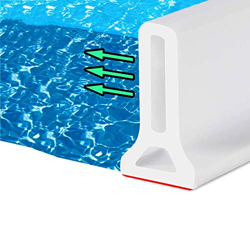 Threshold Water Dam Shower Splash Guard Bathroom Blocking Water Strip Flood Barrier Silicon,Collapsible,Self-Adhesive for Dry and Wet Separation,White,5M/196.85IN