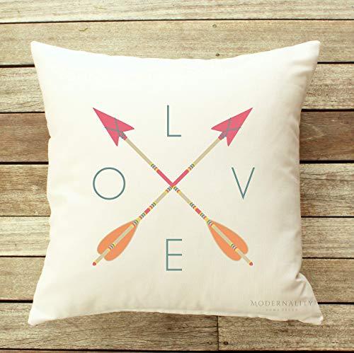 FriedaJO Arrow Throw Pillow Love Pillow New Baby Gift Girls Nursery Decor Pink Accent Pillow Zippered Pillow Cover Decorative Pillow Case