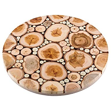 Trivet for Hot Dishes - Handmade from Natural Aromatic Juniper Wood - Base from Birch Plywood - Premium Quality Wooden Kitchenware - Ø 7.1 Inch