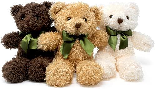 Fluffuns Teddy Bear Plush - Cute Teddy Bears Stuffed Animals in 3 Colors - 3-Pack of Stuffed Bears - 9 Inch Height (Dark Brown, Golden, White)