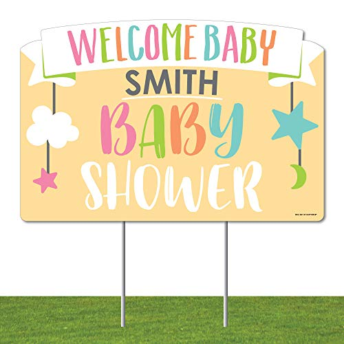 Big Dot of Happiness Personalized Neutral Baby Shower - Baby Shower Yard Sign Lawn Decorations - Welcome Baby Custom Name Party Yardy Sign