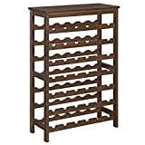 SONGMICS 42-Bottle Wine Rack Free Standing Floor, 7-Tier Display Wine Storage Shelves with Table Top, Bamboo Wobble-Free Bottle Holder for Kitchen Bar Dining Room Living Room, Walnut Color UKWR27WL