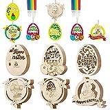 SPECOOL 60pcs Decorazioni di buona Pasqua, Ornamenti Pendenti in Legno per Albero, Coniglietto Coniglio Fiori Uova di Pasqua, Artigianato Pasquale Fai da Te