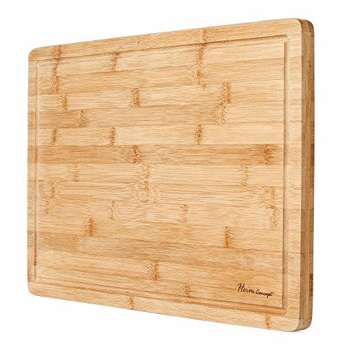 Heim Concept Organic Bamboo Cutting Board for Kitchen Extra Large Chopping Board with Juicy Groove Perfect for Meat, Vegetables, Fruits, Cheese