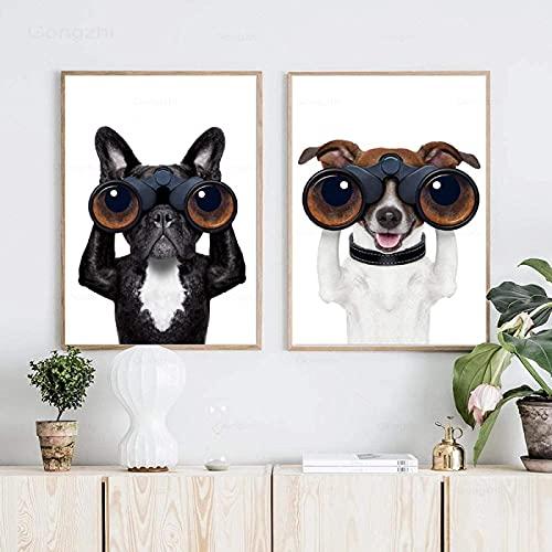 Arte de pared 2 piezas 50x70 cm sin marco divertido galgo Bulldog Animal pared arte pintura impresiones e imágenes de carteles decoración de la sala de estar