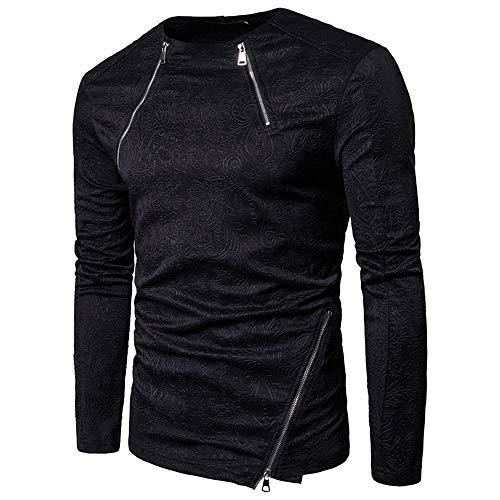 Herren Langarm T-Shirt Herren Jugendliche Nachtclub Mode Casual Solid Color Dark...